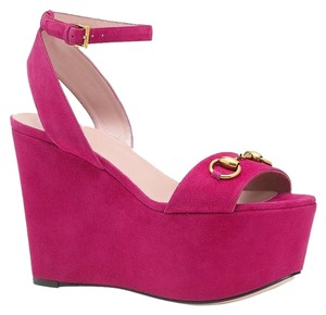 Gucci Suedeleather Horsebit Wedge Fuchsia/5523 Platforms