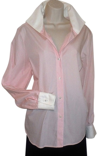Item - Pink Menswear Inspired Button-down Top Size 14 (L)
