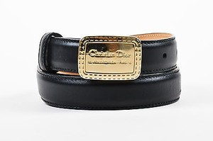 Dior Christian Dior Black Gold Tone Leather Logo Engraved Pin Buckle Belt 90