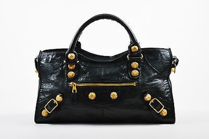 Balenciaga Gold Distressed Lambskin Leather Giant 21 Part Time Tote in Black