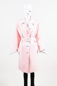 Chanel Boutique Silk Notch Lapel Long Sleeve Cc Button Belted Coat