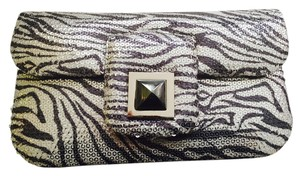 Kara Ross Heamatite Clasp 100% Leather Magnetic Clasp Zebra Print Design Transparent Sequin Embellishment Unique Navy and silver Clutch