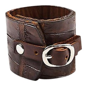 Meg Musick Makley Brown Crocodile Leather Wide Buckle Cuff Bracelet
