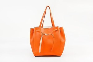 Céline Pebbled Leather Phantom Cabas Tie Tote in Orange