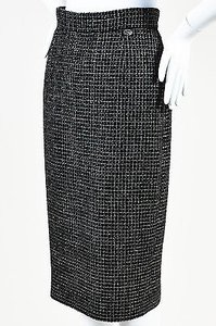 Chanel Metallic Knit Tweed Pencil Skirt Black, Silver