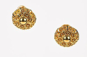 St. John St. John Gold Tone Carved Dotted Round Clip On Cocktail Earrings