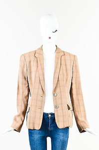 Giorgio Armani Giorgio Armani Tan Multicolor Plaid Button Long Sleeve Suit Blazer Jacket