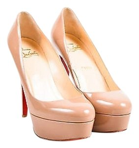 Christian Louboutin Blush Patent Leather Platform 120mm Bianca Beige Pumps