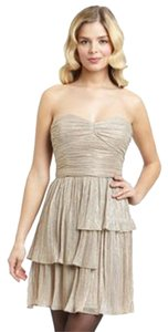 Max and Cleo Rebecca Sweetheart Neck Gold Lurex Party Dress