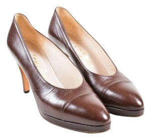 Chanel Vintage Leather Brown Pumps