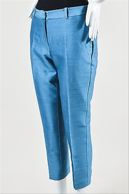 & Other Stories  Other Stories Blue Silk Blend Grained Cropped And Creased Trousers free shipping