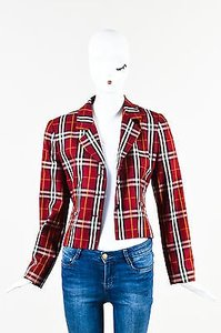 Burberry Burberrys Red Multicolor Cotton Nova Check Plaid Blazer Jacket