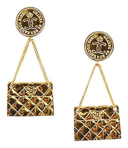 Chanel Chanel Gold Tone Quilted Flap Bag Cc Coin Dangle Drop Clip On Earrings