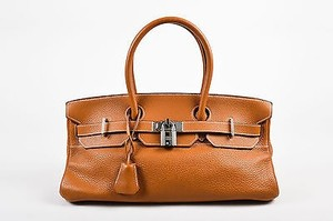 Hermès Caramel Clemence Leather Jpg 42 Tote in Brown