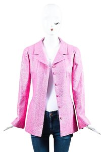 Chanel Bubblegum Metallic Collared Ls Buttoned Pink Jacket