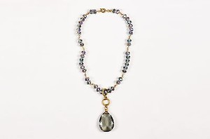 Other Susanna Galanis Vintage Brass Smokey Crystal Chandelier Necklace