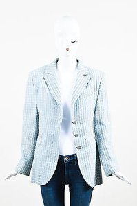 Chanel Boutique Light Multicolor Wool Tweed Plaid Collared Ls Jacket Coat