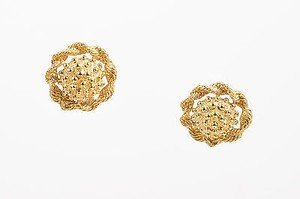 MONET Monet Gold Tone Woven Beaded Carved Clip On Cocktail Earrings