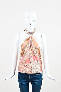 Roberto Cavalli Pink Metallic Multi-Color Halter Top