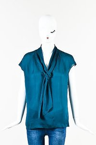 Escada Silk Sl Neck Tie Top Teal