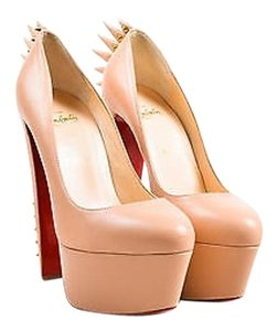 Christian Louboutin Nude Leather Electropump 160 Spiked Heels Beige Pumps