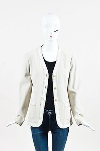 Emporio Armani Armani Collezioni Suede Overstitch Detailed Ls Buttoned White Jacket
