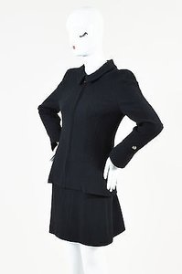 Chanel Vintage Chanel Black Wool Boucle Zip Long Sleeve Jacket Skirt Suit Set