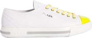 Prada Leather Captoe Platform Sneakers White / Fluorescent Yellow Athletic