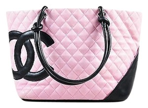 Chanel Light Quilted Leather Black Cc Trim Ligne Cambon Tote in Pink