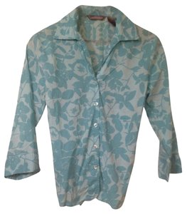 Spring Office Button Down Shirt Green floral