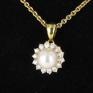 Mikimoto Mikimoto Necklace 8mm Akoya Wht Pearl 0.36cts Diamond Halo 18k Y Gold