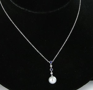 Mikimoto Mikimoto Necklace Morning Dew Pearl 0.08cts Diamonds Sapphires 18k Wg