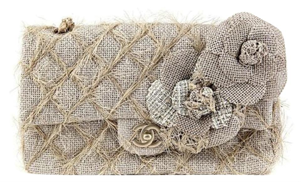 40df3a1b082453 Chanel Classic Flap Straw Camelia Nude Beige Jute Tweed Rope Shoulder Bag