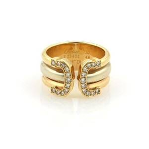 Cartier Cartier Double C Diamonds 18k Tri-color Gold Band Ring Eu 48-us