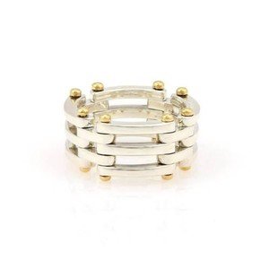 Tiffany & Co. Tiffany Co. Sterling Silver 18k Yellow Gold Gatelink 11mm Band -