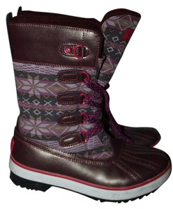 UGG Boots Baroness Snow Lace Up Maroon Boots