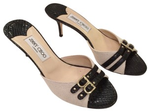 Jimmy Choo Slip Fabric Over Leather Black and Neutral Sandals