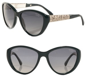 Chanel Chanel Sunglasses Bijoux Limited Edition Polarized Grey Lens 5298-B with Dark Green Cat-eye and Silver Frame