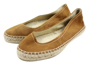 Jimmy Choo Espadrille Caramel Suede Leather Flats