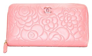 Chanel Authentic Chanel Pink Lambskin Camellia Flower Zippy Wallet