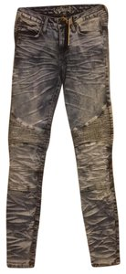 Robin's Jean Motorcycle Robin Acid Wash Five Pocket Skinny Skinny Jeans-Acid