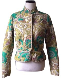 Etro Teal Green, Cream, Purple, Gold Blazer