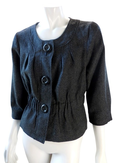 Ambition Lined Cinch 3/4 Sleeve Cropped Gray Jacket