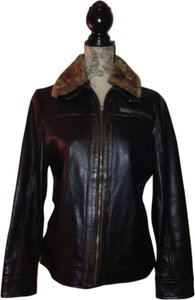 The Territory Ahead Faux Fur Removable Collar Distressed black (brownish black) Leather Jacket