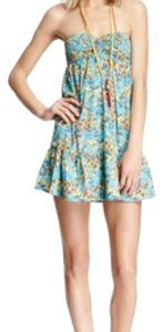 O'Neill short dress Teal with Pink/Yellow Flowers on Tradesy