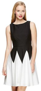 Gabby Skye Pique Knit Fit-and-flare Contrast Dress