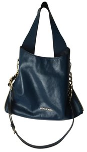Michael Kors Leather Chain Logo Adjustable Tote in Steel Blue