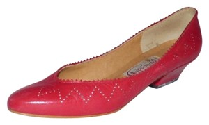 Pappagallo Comfy Classic red and white perforated leather Flats