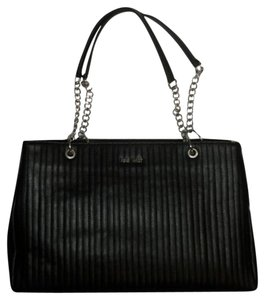 Nine West Quilted Silver Chain Tote in Black