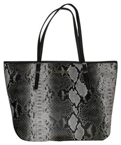 Nine West Snakeskin Tote in Black and White